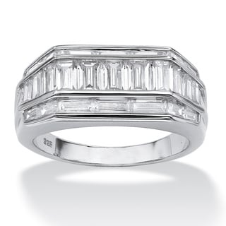 Ultimate CZ Platinum over Silver Men&#39;s Baguette Cubic Zirconia Ring