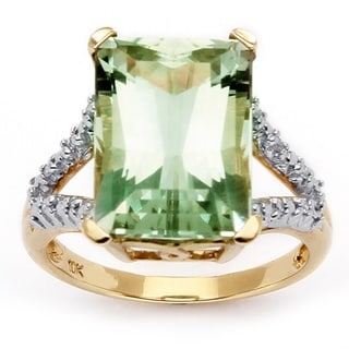 PalmBeach 10k Gold Green Amethyst and Diamond Accent Ring (H-I, I2-I3) Diamonds & Gems