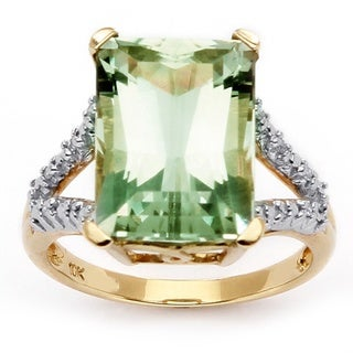 Angelina D'Andrea 10k Gold Green Amethyst and Diamond Accent Ring (H-I, I2-I3)