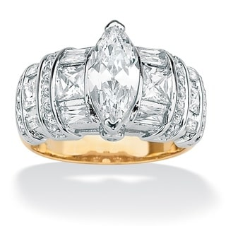 PalmBeach CZ 18k Gold over Sterling Silver Tutone Multi-cut CZ Ring Classic CZ
