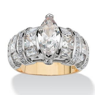 PalmBeach 4.17 TCW Marquise-Cut Cubic Zirconia 18k Gold over Sterling Silver Ring Classic CZ