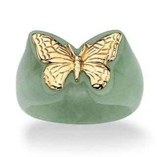 PalmBeach 14k Gold Green Jade Butterfly Ring Naturalist