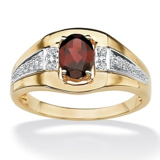 Neno Buscotti 18k Gold over Sterling Silver Garnet and Diamond Accent Ring