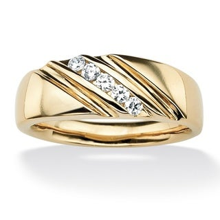 Ultimate CZ 18k Gold over Sterling Silver Men's Cubic Zirconia Diagonal Band