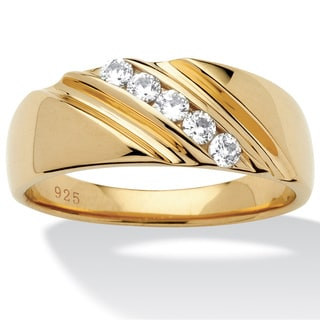 Ultimate CZ 18k Gold over Sterling Silver Men&#39;s Cubic Zirconia Diagonal Band