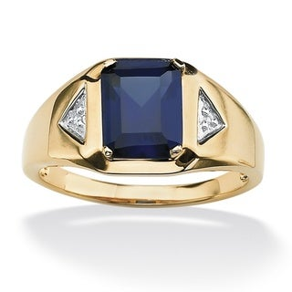 Neno Buscotti 18k Gold over Sterling Silver Men's Lab-Created Blue Sapphire and Diamond Accent Ring