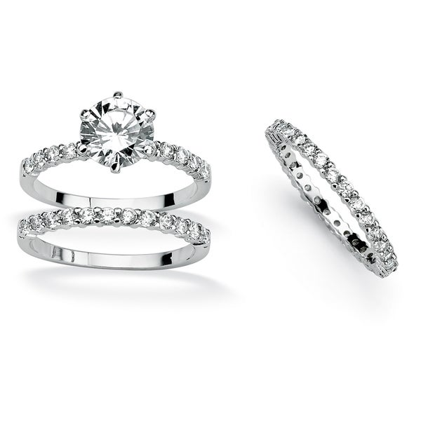 PalmBeach 3 Piece 3.75 TCW Round Cubic Zirconia Bridal Ring Set in Platinum over Sterling Silver Classic CZ