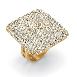 Isabella Collection 14k Goldplated Pave-Set Crystal Square-Shaped Ring