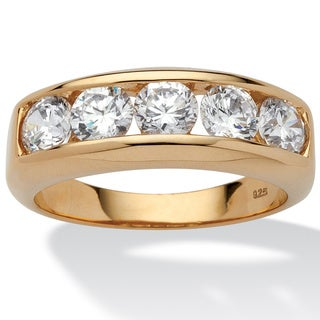 Ultimate CZ 18k Gold over Sterling Silver Men&#39;s Cubic Zirconia Wedding Band