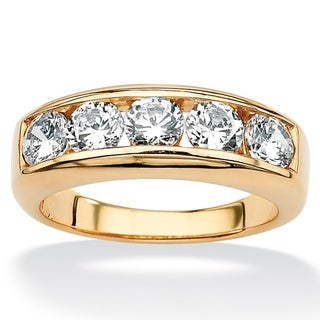 Ultimate CZ 18k Gold over Sterling Silver Men's Cubic Zirconia Wedding Band