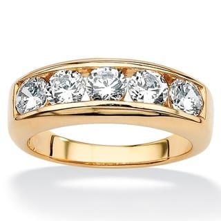 PalmBeach CZ 18k Gold over Sterling Silver Men's Cubic Zirconia Wedding Band