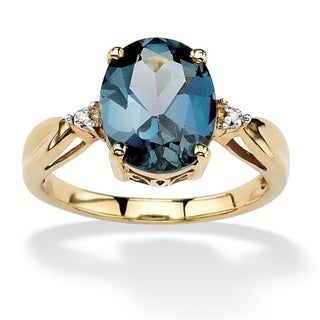 Angelina D'Andrea 18k Gold over Sterling Silver London Blue Topaz and Diamond Accent Ring
