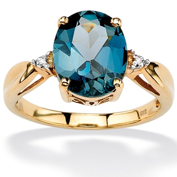 PalmBeach 4.50 TCW Genuine London Blue Topaz & Diamond Accent Ring in 18k Gold over .925 Sterling Silver