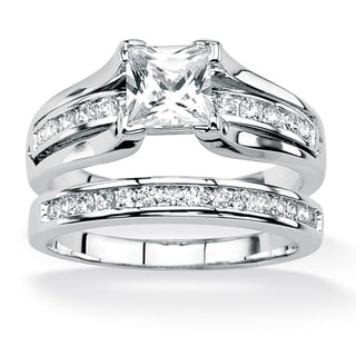 Ultimate CZ Platinum over Silver Princess-Cut and Channel-Set Round CZ Wedding Ring Set
