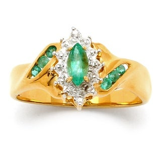 PalmBeach 3/8 TCW Marquise-Cut and Round Genuine Emerald Diamond Accent 18k Gold over Sterling Silver Ring