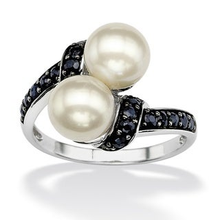Angelina D'Andrea Platinum over Sterling Silver Cultured Freshwater Pearl and Midnight Sapphire Bypass Ring