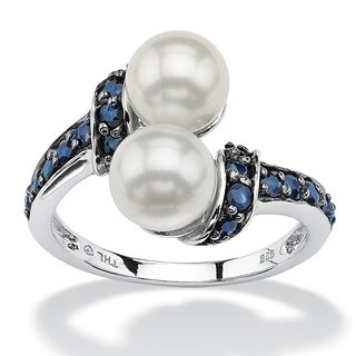 PalmBeach .79 TCW Midnight Blue Genuine Sapphire and Freshwater Pearl Platinum over Sterling Silver Ring Naturalist