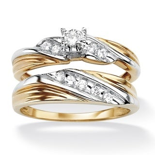PalmBeach CZ 18k Gold over Sterling Silver Cubic Zirconia Wedding Ring Set Classic CZ