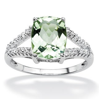 PalmBeach Platinum over Sterling Silver Green Amethyst and Diamond Accent Ring