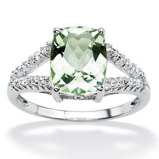 Angelina D'Andrea Platinum over Sterling Silver Green Amethyst and Diamond Accent Ring