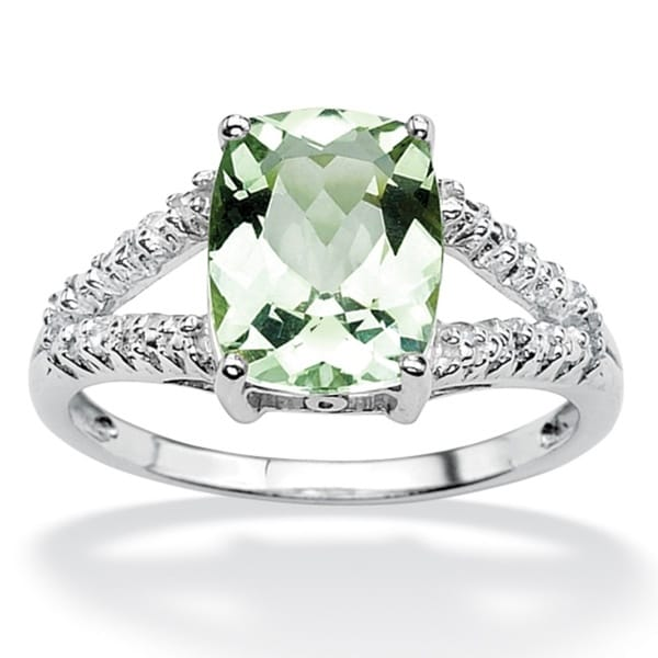 PalmBeach 2.32 TCW Genuine Green Amethyst and Diamond Accent Ring in Platinum Over .925 Sterling Silver