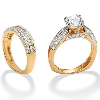 Ultimate CZ 18k Gold-over-Sterling Silver Round-cut Cubic Zirconia Wedding Ring Set