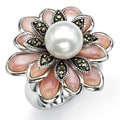 Angelina D'Andrea Antiqued Sterling Silver Cultured Freshwater Pearl and Pink Mother-of Pearl Marcasite Ring