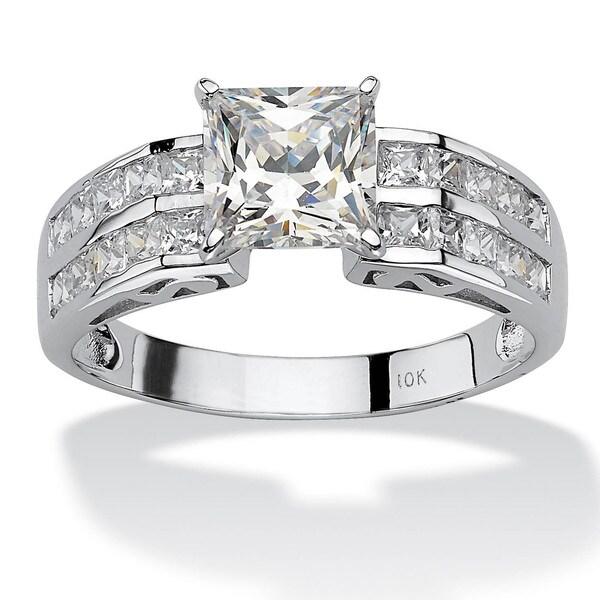 PalmBeach 2.42 TCW Princess-Cut Cubic Zirconia 10k White Gold Engagement Anniversary Ring Classic CZ