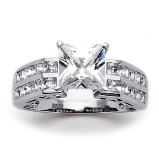 Ultimate CZ 10k White Gold Princess-Cut and Channel-Set Cubic Zirconia Ring
