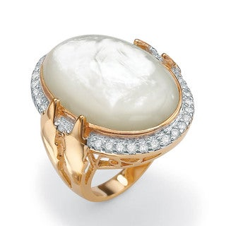 PalmBeach .60 TCW Cubic Zirconia and Bezel-Set Oval-Shaped Genuine Mother-of-Pearl 14k Gold-Plated Ring Naturalist