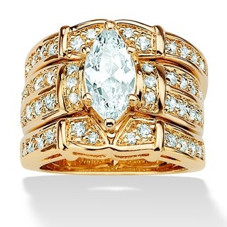 PalmBeach CZ 14k Goldplated Marquise and Round Cubic Zirconia Wedding Ring Set Glam CZ