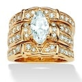 Ultimate CZ 14k Goldplated Marquise and Round Cubic Zirconia Wedding Ring Set