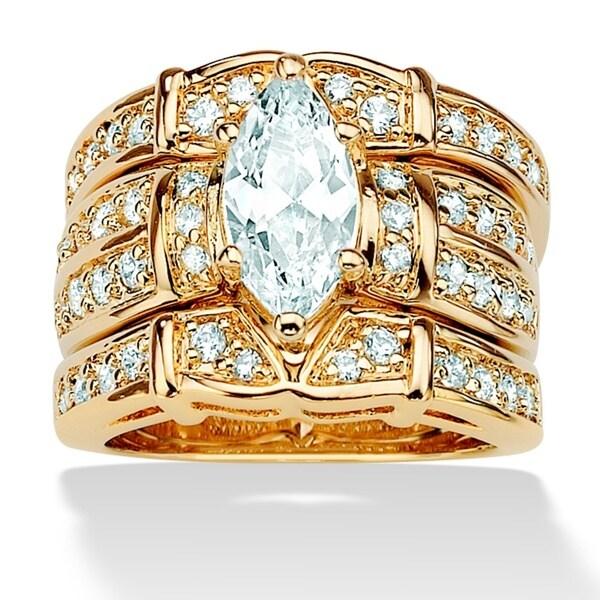 PalmBeach 3.05 TCW Marquise-Cut Cubic Zirconia 14k Gold-Plated Wedding Wedding Ring Set Glam CZ