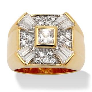 PalmBeach Men's 2.47 TCW Princess-Cut Bezel-Set Cubic Zirconia 14k Yellow Gold-Plated Classic Ring