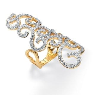 PalmBeach 2.70 TCW Round Cubic Zirconia 14k Gold-Plated Elongated Swirl Ring Glam CZ