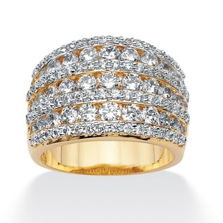 PalmBeach CZ 14k Goldplated Multi-Row Open Dome Cubic Zirconia Ring Glam CZ