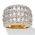 PalmBeach 2.86 TCW Round Cubic Zirconia Multi-Row Dome Ring 14k Gold-Plated Glam CZ