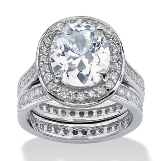PalmBeach CZ Platinum over Sterling Silver Oval-Cut and Round Cubic Zirconia Eternity Wedding Ring S Glam CZ