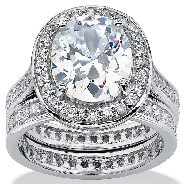 PalmBeach 6.47 TCW Oval-Cut Cubic Zirconia Two-Piece Halo Bridal Set in Platinum over Sterling Silver Glam CZ