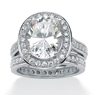 Ultimate CZ Platinum over Sterling Silver Oval-Cut and Round Cubic Zirconia Eternity Wedding Ring Set