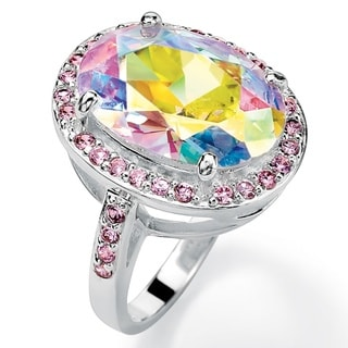 PalmBeach Silvertone Aurora Borealis and Pink Cubic Zirconia Ring