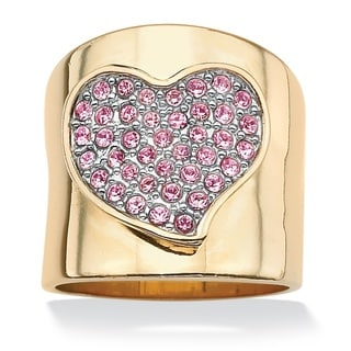 Lillith Star 14k Goldplated Free-Form Heart-Shaped Pink Crystal Band Ring