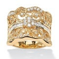Ultimate CZ 14k Goldplated 1.21 CT TW Cubic Zirconia Curled Concave Ring