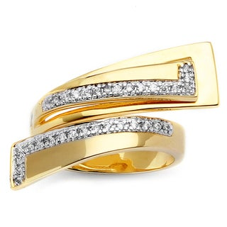 PalmBeach .26 TCW Round Cubic Zirconia 14k Gold-Plated Geometric Bypass Ring Glam CZ