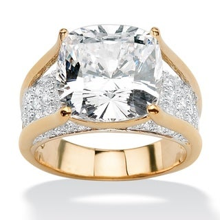 Ultimate CZ 14k Goldplated Cushion-Cut and Round Cubic Zirconia Ring