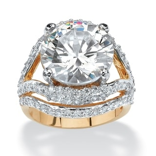 PalmBeach 9.88 TCW Round Cubic Zirconia 14k Gold-Plated Engagement Anniversary Double Split-Shank Ring Glam CZ