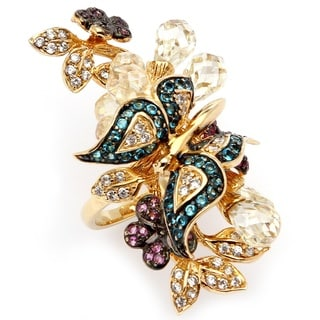 Lillith Star 18k Goldplated 17.18 CT TW Cubic Zirconia and Glass Butterfly Ring