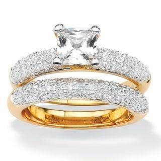 PalmBeach CZ Cubic Zirconia Wedding Ring Set Classic CZ