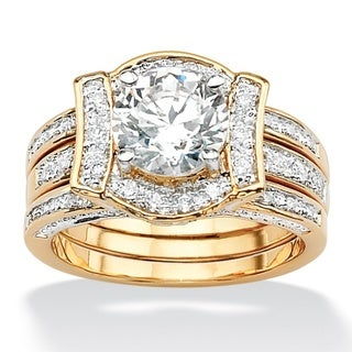 PalmBeach CZ 14k Gold Overlay 2 3/8ct TGW CZ Wedding-style Ring Set