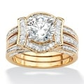 Ultimate CZ 14k Gold Overlay 2 3/8ct TGW CZ Wedding-style Ring Set